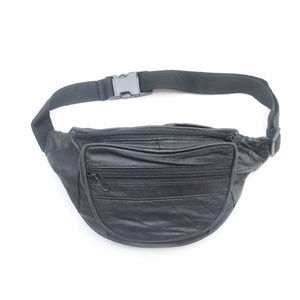 Other - 90's Vintage 3-Pocket Black Leather Fanny Pack